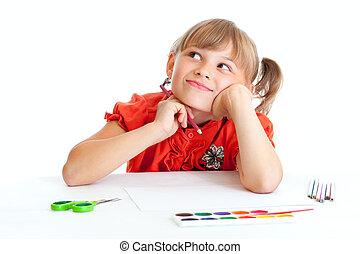 drömma, skolflicka, med, röd blyertspenna, isolerat