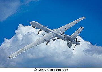 drönare, flygning, i skyarna