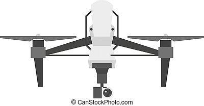 drönare, quadcopter, vektor, isolerat