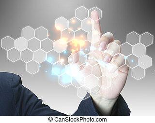 drücken, geschäftsmann, touchscreen