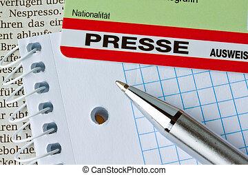 drücken, journalisten, passierschein