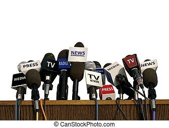 drücken, und, medien, konferenz