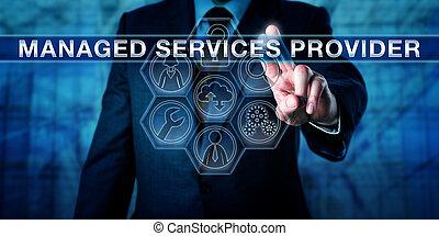 drücken, versorger, makler, geleitet, dienstleistungen