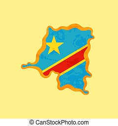 DR Congo - Map colored with Congolese flag