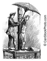 Dr. Shebbeare pillory (1758). Print the eighteenth century,...