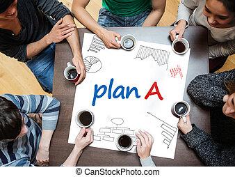 dra, plan, escrito, cartel