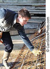 draad, arbeider, maas, roestige , bouwsector, het tilen