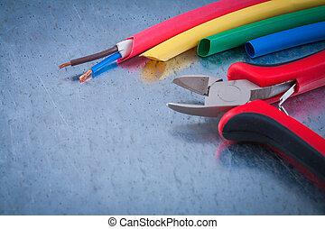 draad, bescherming, koper, kabels, metaal, nippers, op,...