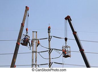 draad, elektromonteur, werkende , hoogte, hoogspanning, ...