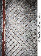 draad, grunge, omheining, muur, cement, roestige , achtergrond