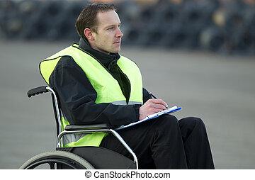 draad, supervisor, controlelijst, wheelchair, inspecteren, rol