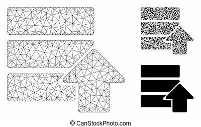 draad, vector, uploaden, frame, driehoek, pictogram, mozaïek, model, databank, maas