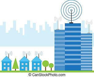 draadloos, huisen, signaal, illustratie, internet
