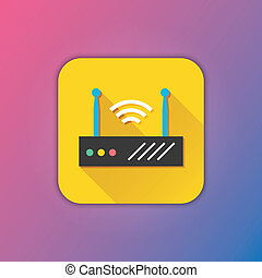 draadloos, router, vector, ico, netwerk