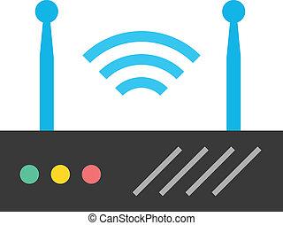 draadloos, router, vector, netwerk