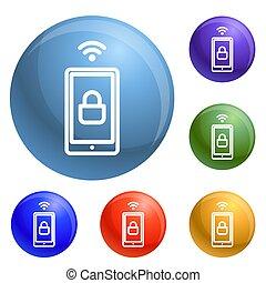 draadloos, slot, smartphone, set, iconen