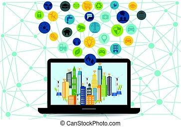 draadloos, stad, netwerk, smart, communicatie