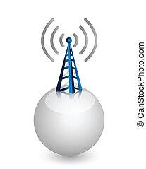 draadloos, toren, met, radio watergolft
