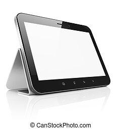 draagbaar, tablet, render., abstract, moderne, screen., blok, achtergrond, computer, pc), stander, apparaat, black , witte , (tablet, beroeren, 3d