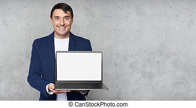 draagbare computer, blank lichten door, glimlachende mens, het tonen, mooi