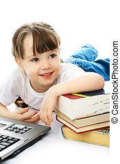 draagbare computer, boekjes , meisje, vloer