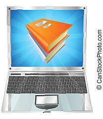 draagbare computer, concept, boekjes , pictogram