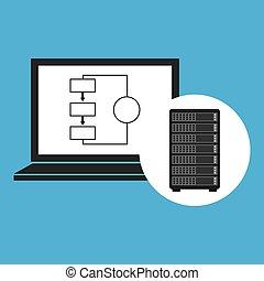 draagbare computer, concept, data, net kelner