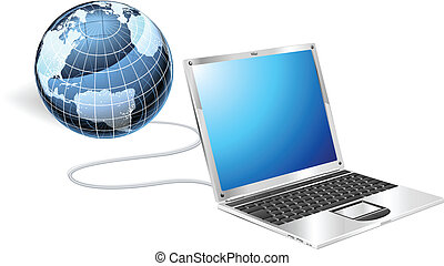 draagbare computer, concept, globe