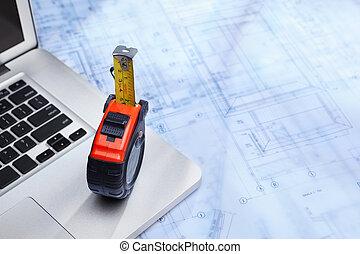 draagbare computer, en, bouwschets
