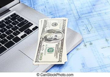 draagbare computer, geld, en, bouwschets