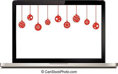draagbare computer, gelul, kerst decoraties
