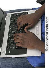 draagbare computer, handen, 1, computer toetsenbord, man