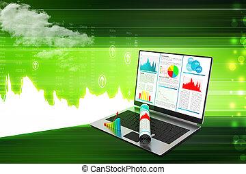 draagbare computer, het tonen, een, financieel rapport