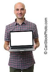 draagbare computer, houden, leeg, modieus, het glimlachen, scherm, man