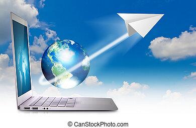 draagbare computer, in, hemel, met, aarde, en, papieren vliegtuig