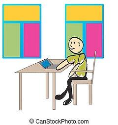 draagbare computer, internet, illustratie, mensen