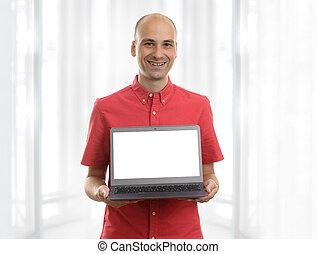 draagbare computer, jonge man