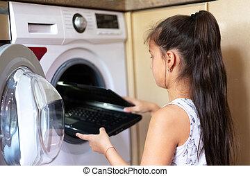 draagbare computer, machine., was, zetten, meisje, kind