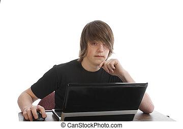 draagbare computer, mannelijke tiener