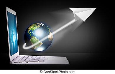 draagbare computer, met, aarde, en, papieren vliegtuig