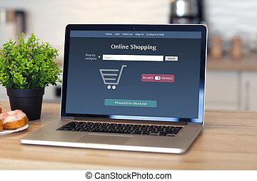 draagbare computer, met, online boodschapend doend, op, de, scherm, in, de, kamer
