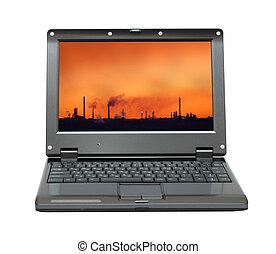 draagbare computer, met, slecht, ecologie, op, scherm