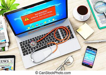 draagbare computer, met, virus, aanval, waarschuwend, boodschap, op, scherm, en, stethoscope
