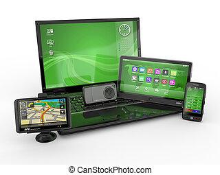 draagbare computer, mobiele telefoon, tablet pc, en, gps., 3d
