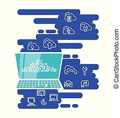 draagbare computer, netwerk, wolk, gegevensverwerking