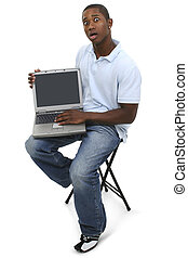draagbare computer, ongedwongen, man