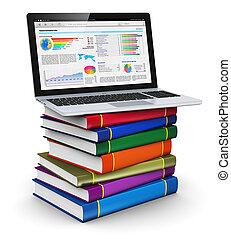 draagbare computer, op, stapel, van, kleur, boekjes