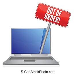 draagbare computer, order, dienst, uit