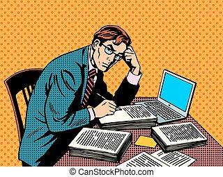 draagbare computer, schrijver, academisch, papier,...
