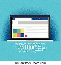 draagbare computer, sociaal, pagina, netwerk